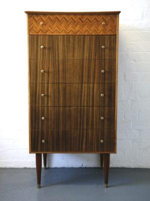1960s Uniflex Teak & Walnut Chest of Drawers 1