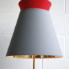 1950s Floor Lamp Grey & Red Shade 2