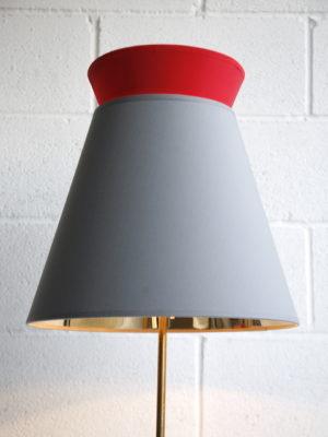 1950s Floor Lamp Grey & Red Shade 2