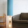 1960s Glass Floor Lamp Blue Shade 1