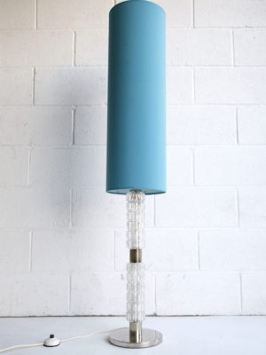 1960s Glass Floor Lamp Blue Shade 3