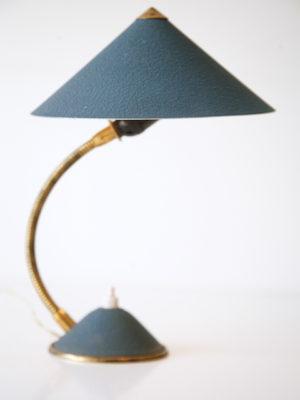 1950s Blue Brass Desk Lamp 1