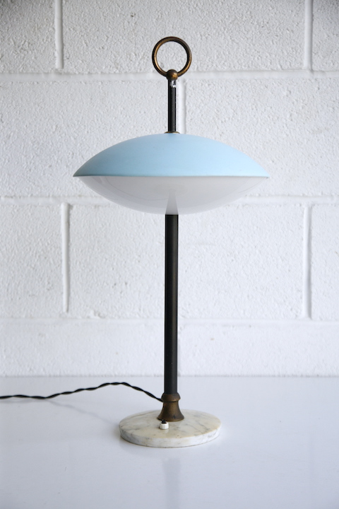 1950s Blue Italian Table Lamp 5