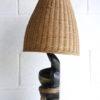 1960s Chalkware Lamp with Wicker Shade 4
