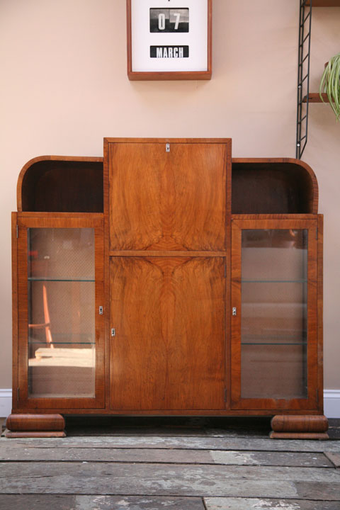 1930s Deco Display Cabinet Bureau (1)