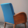 1940s Wooden Turquoise & Teal Armchair (2)