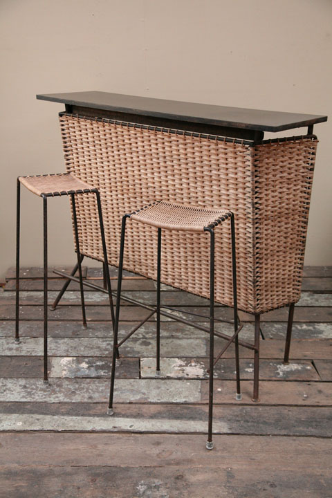 1950s Wicker Cocktail bar