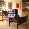 1960s Guy Rogers Leather Armchairs (1)