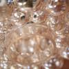1970s Glass Brass Bubble Pendant Lights (3)