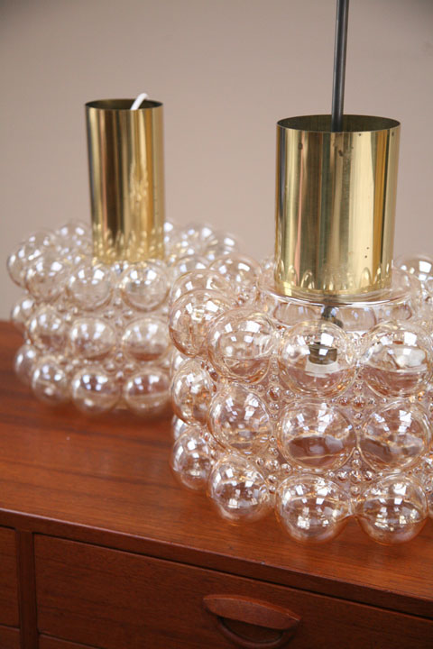 1970s Glass Brass Bubble Pendant Lights