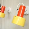 1970s Prova Yellow Orange Wall Lights (2)