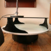 1970s Round Space Age Glass Coffee Table (1)