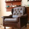 Brown leather Danish Armchair (1)