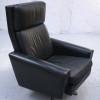 Danish Black Leather Swivel Chair (1)