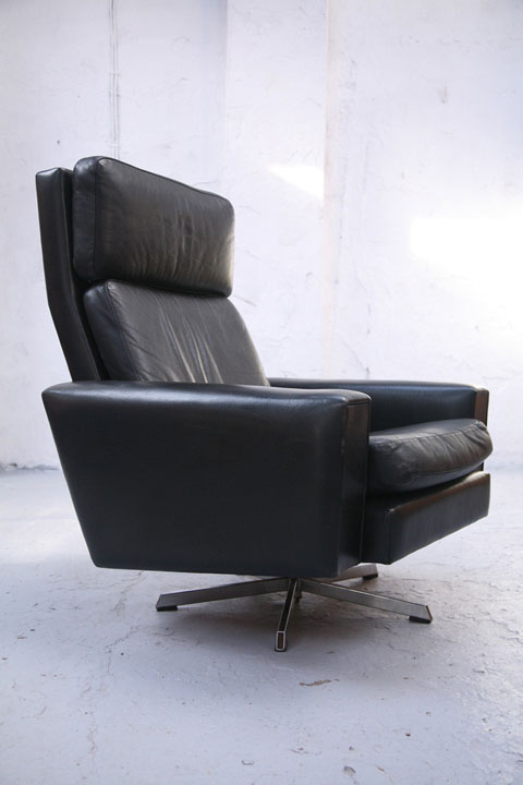 Danish Black Leather Swivel Chair