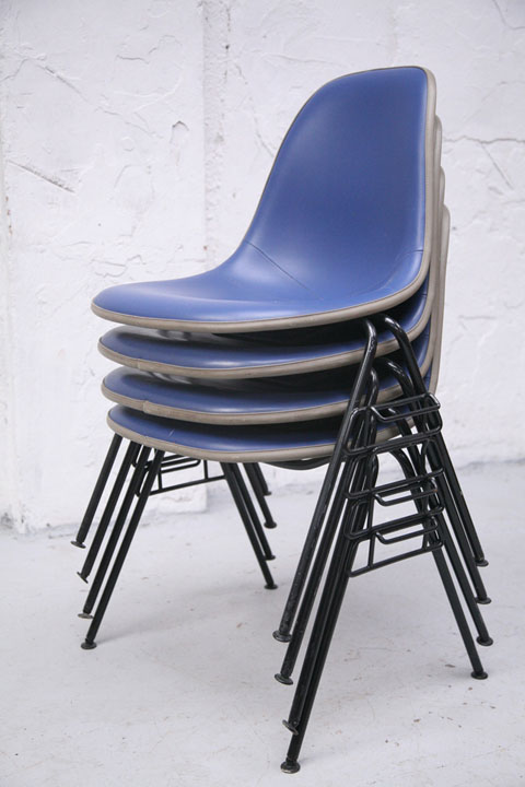 Herman Miller Blue Upholstered Stacking Chairs (2)