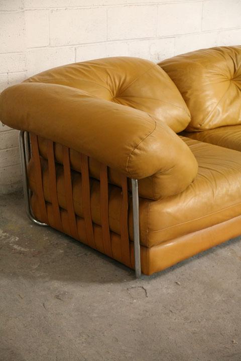 Large 1970s Leather Modular Sofa