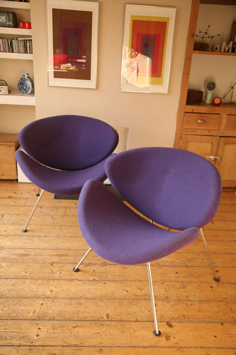 Pair of Purple Pierre Paulin Slice Chairs for Artifort