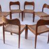 Set of 8 Teak Dining Chairs Designed by Arne Hovmand Olsen for Mogens Kold Denmark3