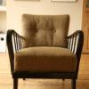 1950s Modernist Armchair Dark Wood (1)