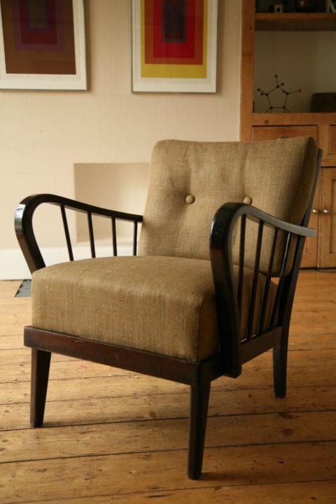 1950s Modernist Armchair Dark Wood