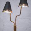 1950s black brass double floor lamp