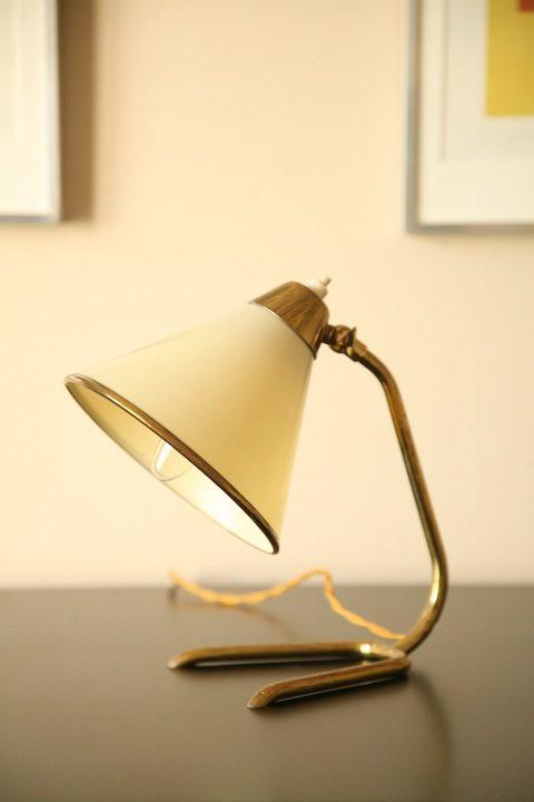 50s Small Desk Lamp Cream Plastic Shade