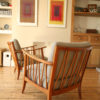 Pair of Modernist Armchairs Grey Upholstery (2)