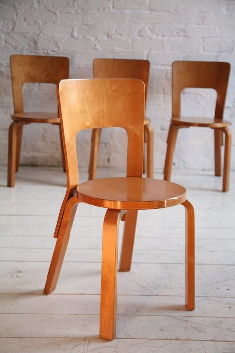 1930s Model 66 Chairs Designed by Alvar Aalto for Finmar