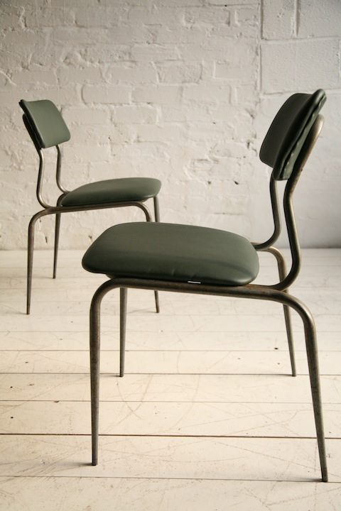 1950s Green Leather Industrial Side Chair2