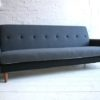 1950s Sofabed in Grey and Black Wool1