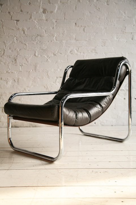 1970s Chrome & Leather Lounge Chair