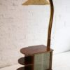 Vintage 1950s Walnut Display Cabinet and Lamp