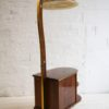 Vintage 1950s Walnut Display Cabinet and Lamp2