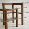 Vintage Oak Glass Display Shelves