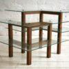 Vintage Oak Glass Display Shelves  2