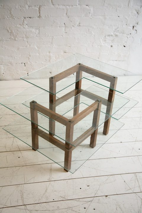 Vintage Oak Glass Display Shelves  3