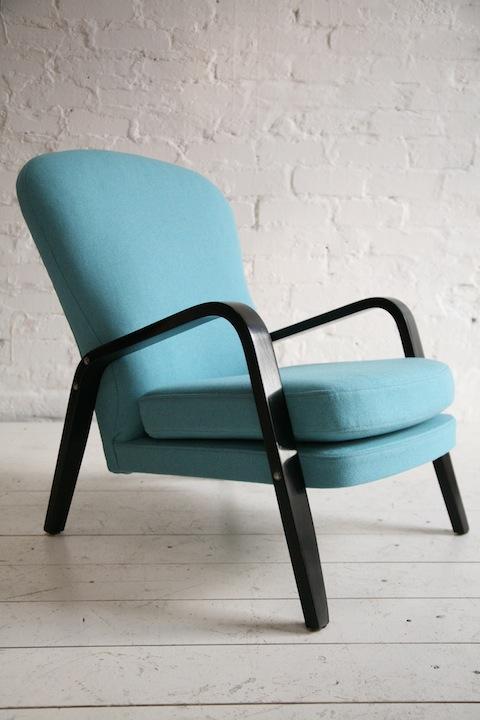 1950s Blue Wool Armchair