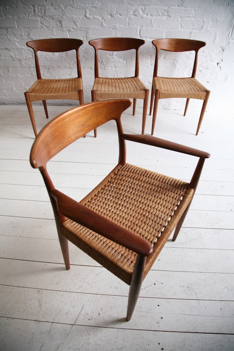 Set of 4 Dining Chairs by Arne Hovmand-Olsen for Mogens Kold Denmark