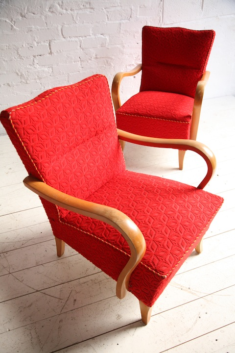 Red 1950s Lounge Chairs