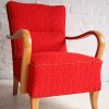 Red 1950s Lounge Chairs 1