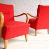 Red 1950s Lounge Chairs 3