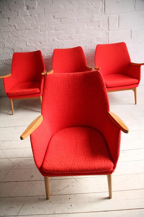 Set of 4 Orange 1950s Chairs