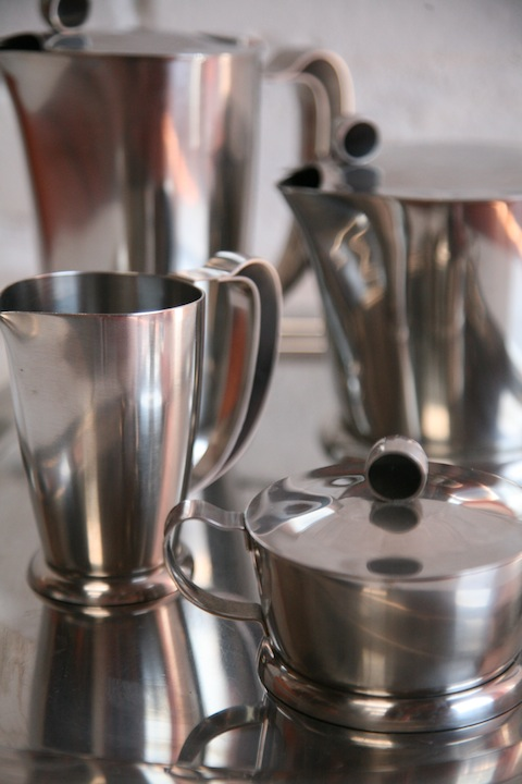 Gense Stainless Steel Coffee Set and Tray