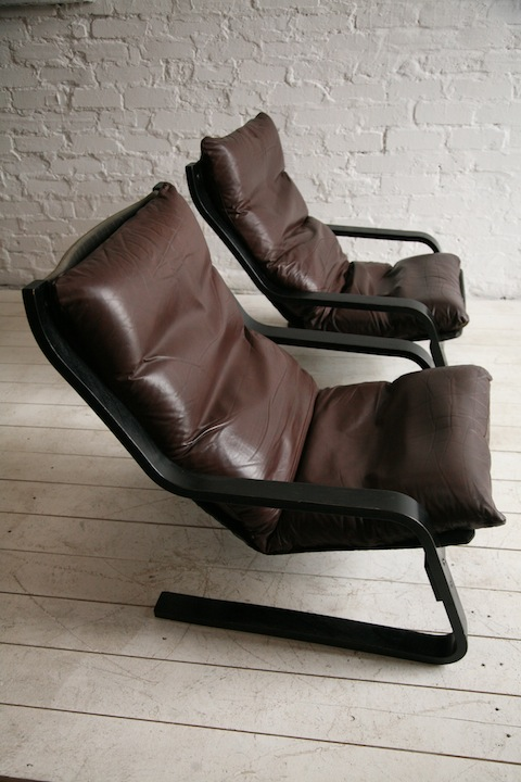 1970s Leather Lounge Chairs