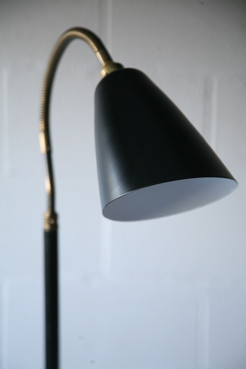 1950s Brass Black Floor Lamp
