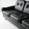 1960s Black Leather Sofa