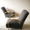 1930s Beech and Grey Armchairs 1