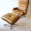 Leather 1970s Swivel Chair and Stool