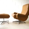 Leather 1970s Swivel Chair and Stool1